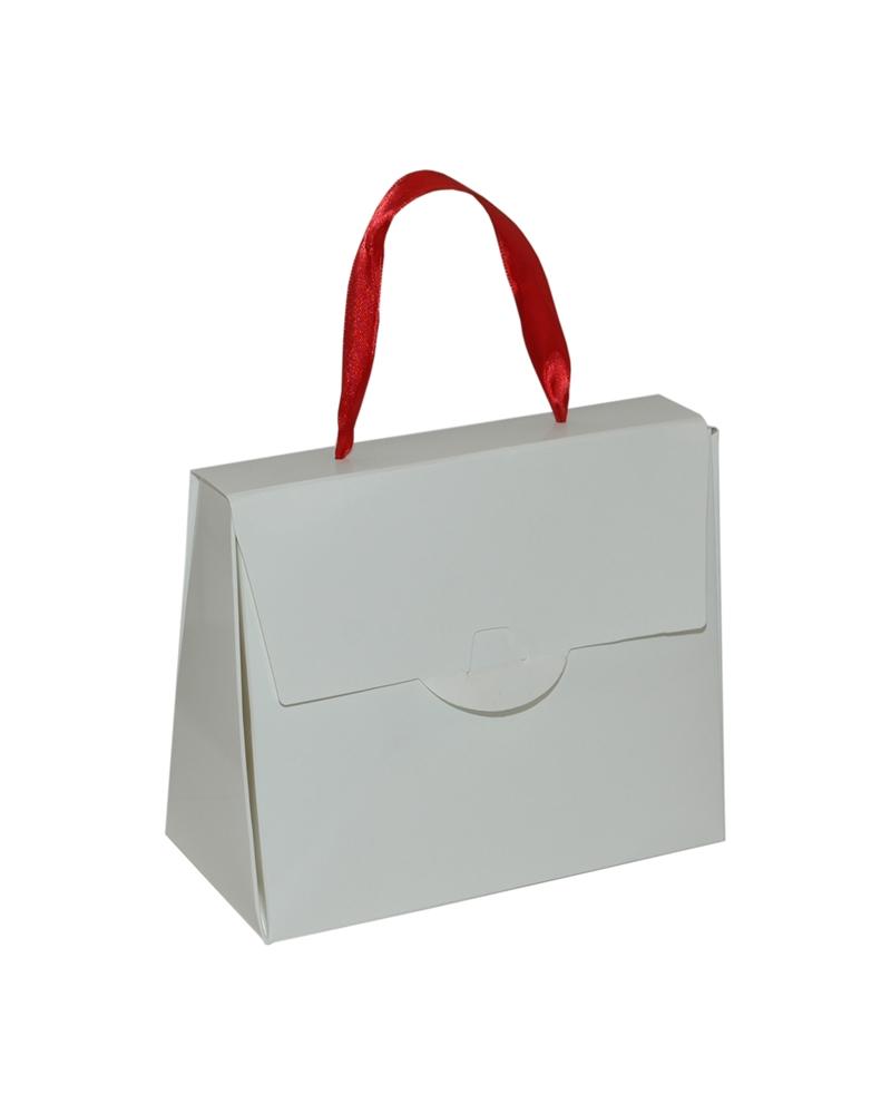 Pochete Branco Brilho c/ Fita de Cetim - Branco - 16.5x8x14cm - EO0700