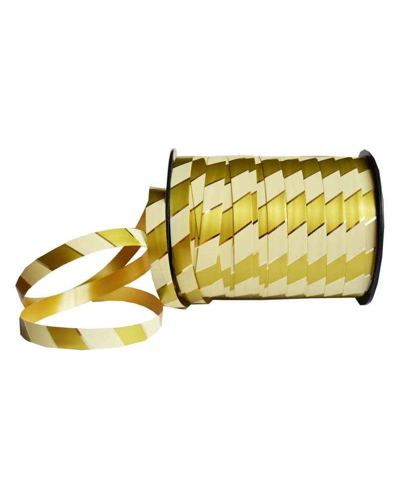"Rolo de Fita ""Regimental"" Beje/Ouro 10mm - Bege/Ouro - 10mm - FT1751"