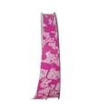 Rolo Fita Seda Fantasia Pollock Rosa 19mmx100mts - Rosa - 19mmx100mts - FT5001