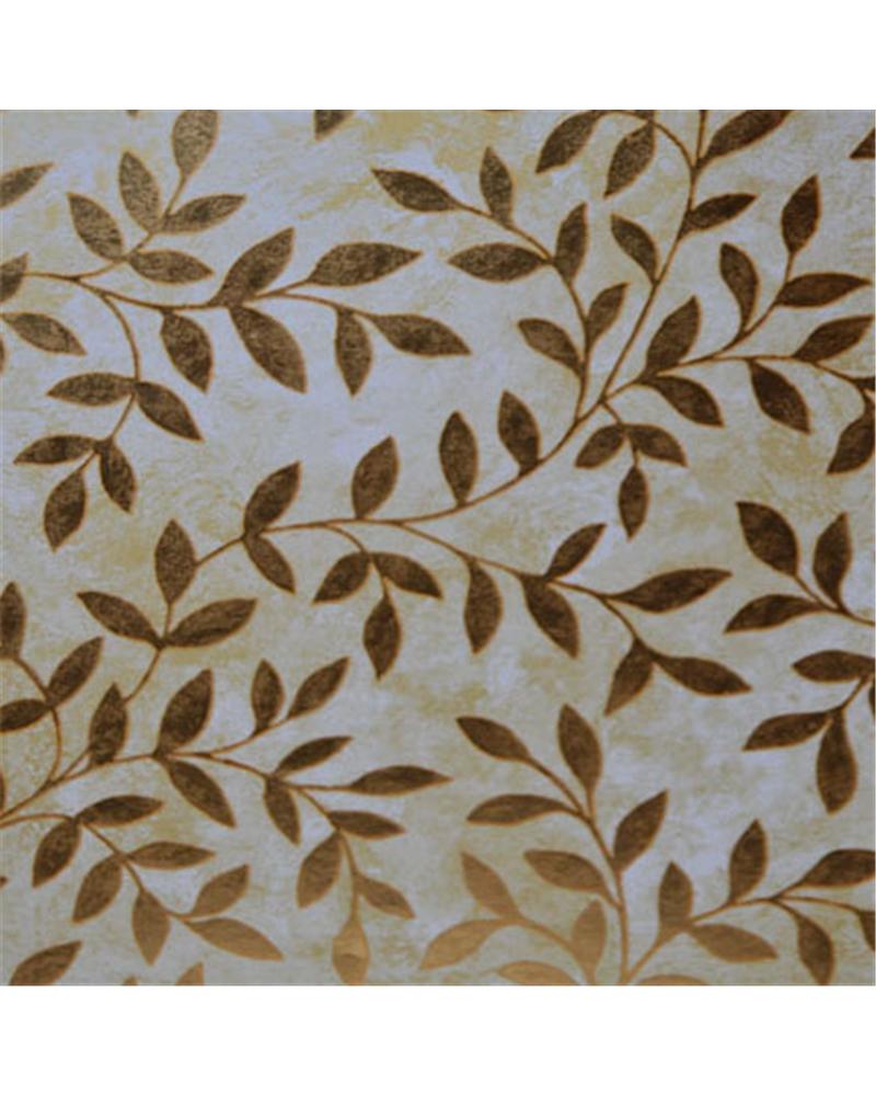 Papel Reflex Fundo Tons Dourado com Folhas - Dourado - 70x100cm - PP2844