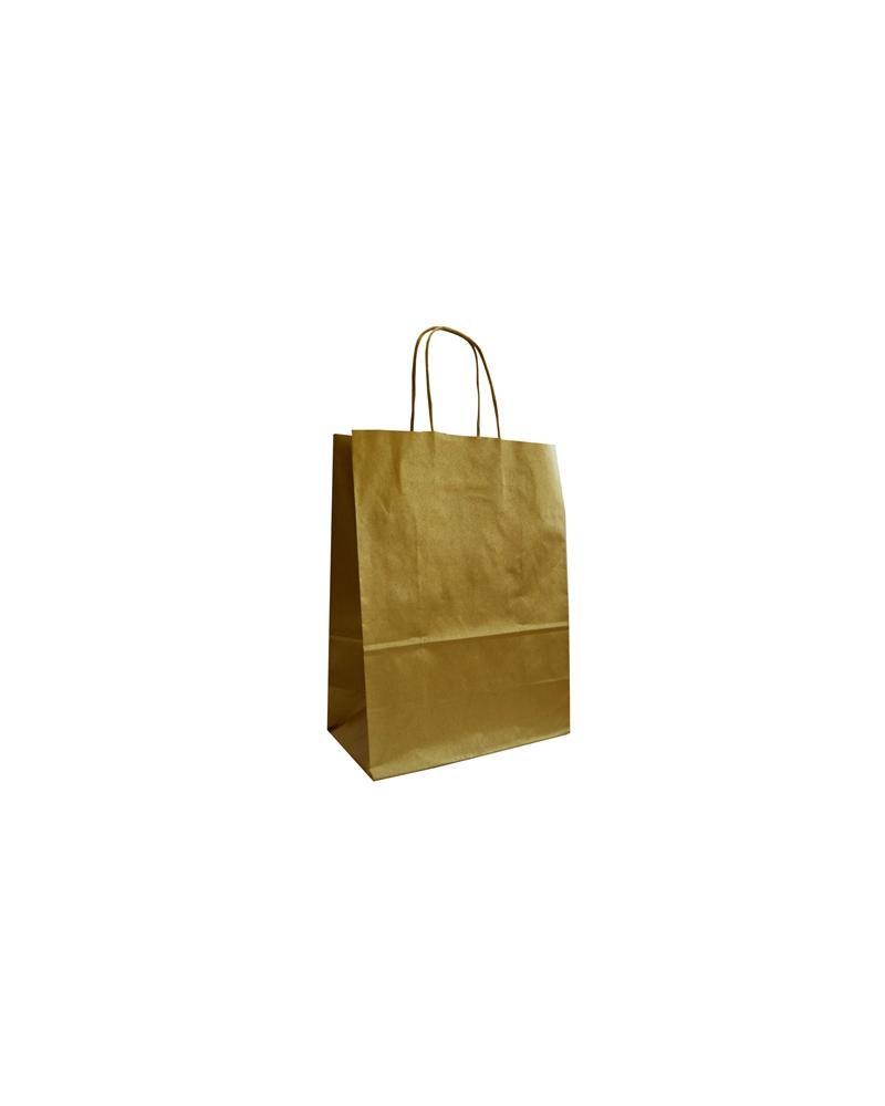 Saco Tex. AR Papel Kraft Liso Fundo Dourado - Dourado - 24+12x31 - SC3405