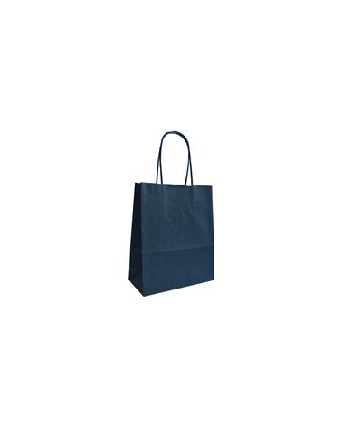 Saco Asa Retorcida Papel Kraft Liso Fundo Azul Escuro - Azul Escuro - 18+08x21 - SC3413