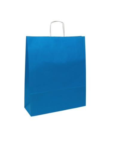 Saco Asa Retorcida Branco Liso Fundo Azul Claro - Azul Claro - 24+12x31 - SC3161