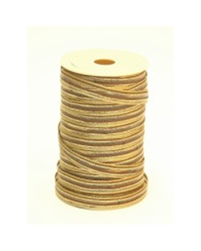 Fita Tecido C/Tirante Riscas Dourado Castanho 10mmx25mt - Dourado - 10mmx25mts - FT3390