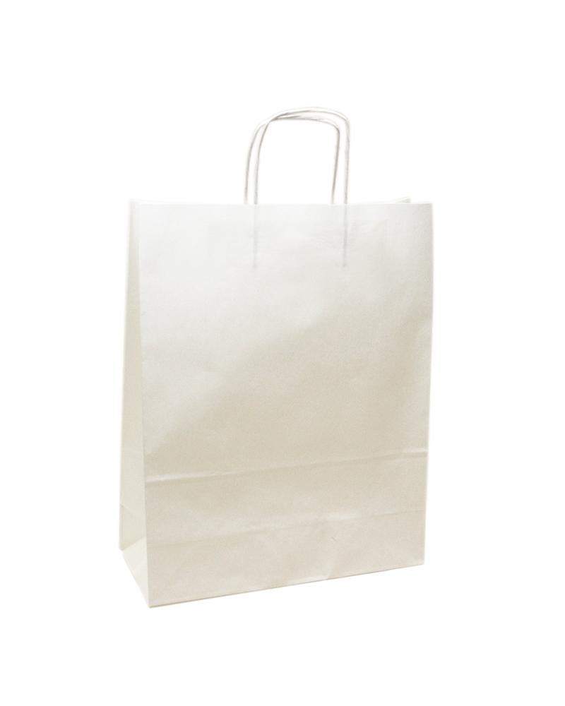 Saco Asa Retorcida Papel Kraft Branco Liso - Branco - 24+12x31 - SC2990