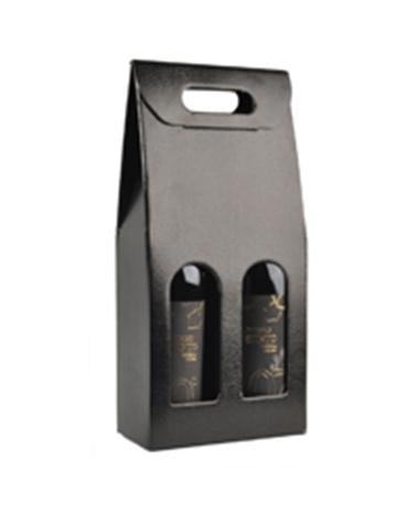 Caixa Pelle Nero Scatola para 2 Garrafas - Preto - 180x90x385mm - CX3289