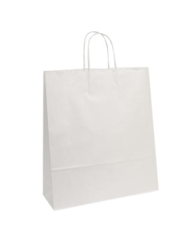Saco Asa Retorcida Papel Kraft Branco Liso - Branco - 45+14x48 - SC2997