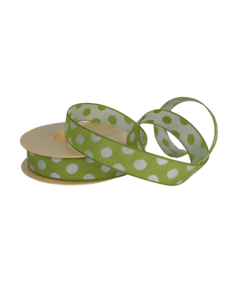 Fita Tecido Verde c/ Bolas Brancas 25mmx10mts - Verde - 25mmx10mts - FT4850