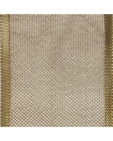 Fita Organza c/Rebordo Dourado 25mmx20mts - Dourado - 25mmx20mts - FT5111