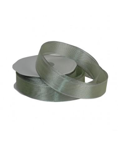 """Rolo Fita Organza Aramada """"Metallic"""" Verde 25mmx15mts - Verde - 25mmx15mts - FT4874"""