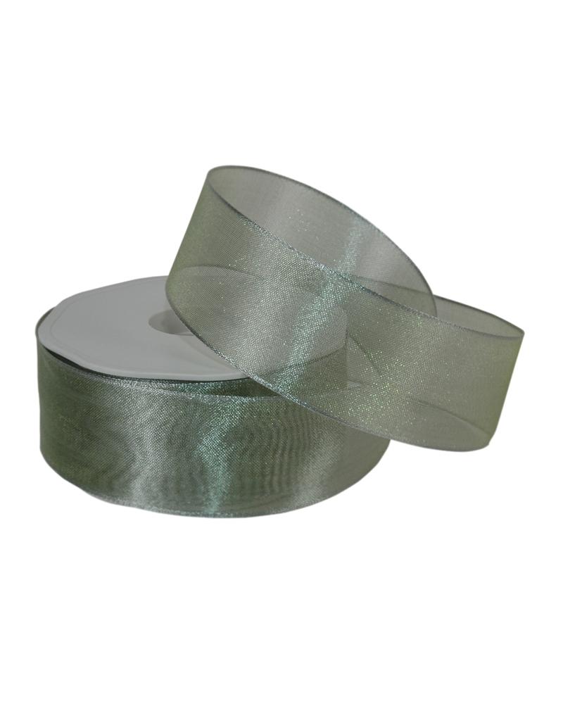 """Rolo Fita Organza Aramada """"Metallic"""" Verde 40mmx15mts - Verde - 40mmx15mts - FT4877"""