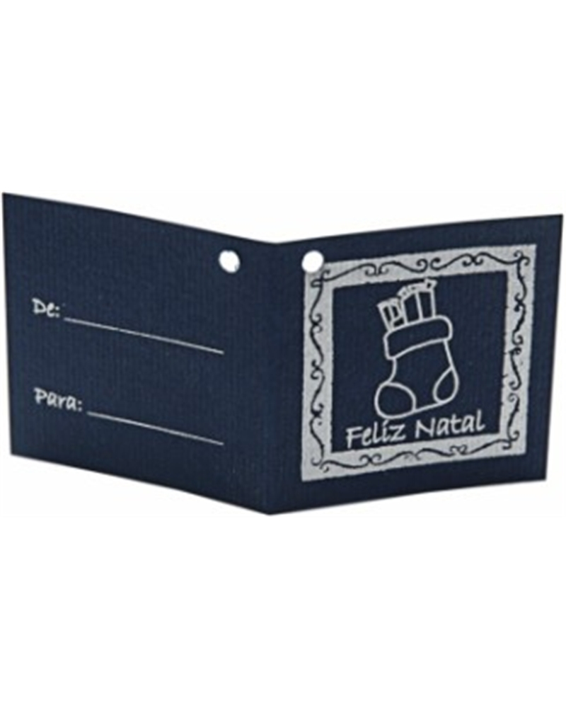 ET Cart.Azul c/Furo Bota Natal Dourado - Dourado - 7x3.5cm - ET0407