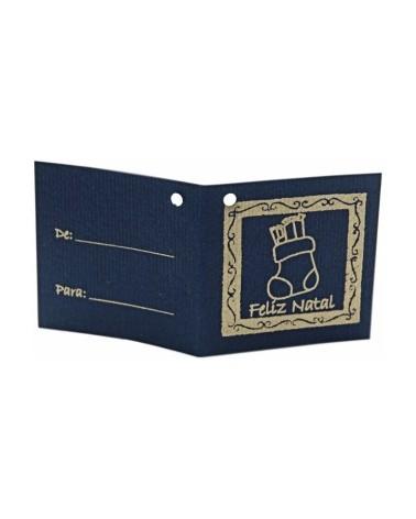 ET Cart.Azul c/Furo Bota Natal Dourado (c/100) 7x3.5cm - Dourado - 7x3.5cm - ET0407