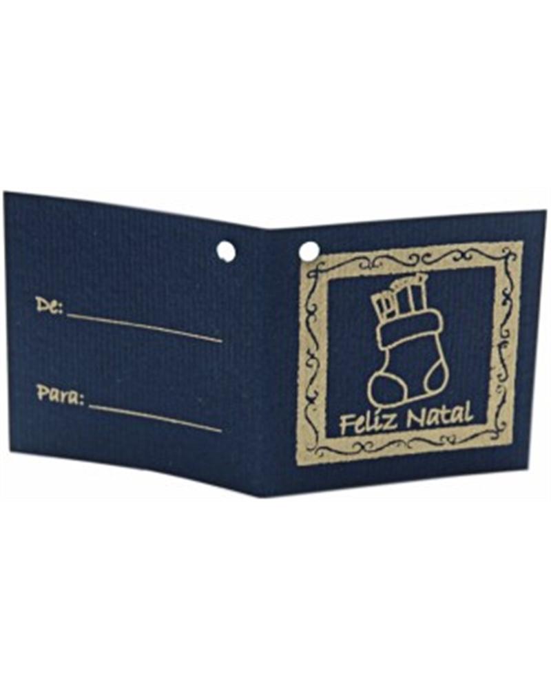 ET Cart.Azul c/Furo Bota Natal Prat. - Prateado - 8x3.5cm - ET0424