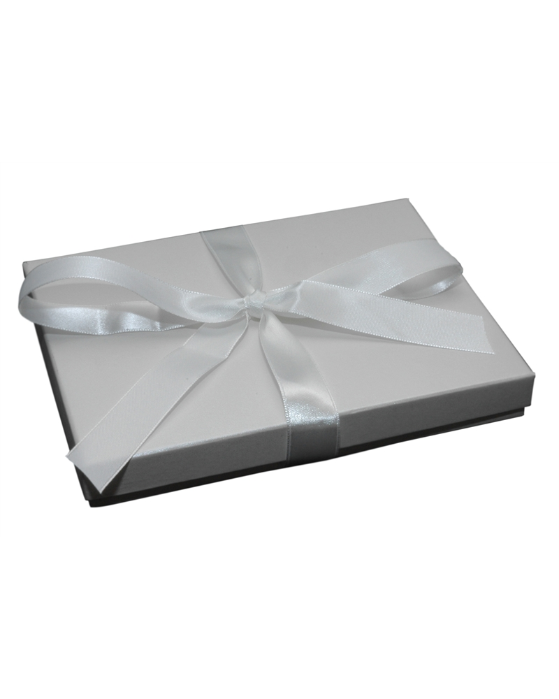 Caixa Linha Champanhe p/ Colar c/Fita - Branco - 17.8x13.5x2.5cm - EO0581