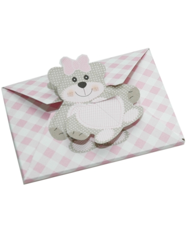 Caixa Teddy Bear Rosa Bustina - Rosa - 95x75x4mm - CX3515