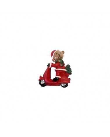 Caixa c/10 Urso Natal na Mota c/Autocolante - Vermelho - 3cm - DVC0477