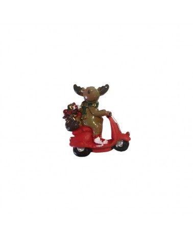 Caixa c/6 Renas Natal em Motas c/Autocolante - Branco - 3cm - DVC0480