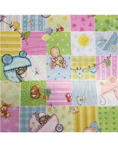 Papel Criança Branco c/ Motivos de Bebé - Branco - 70x100cm - PP2675