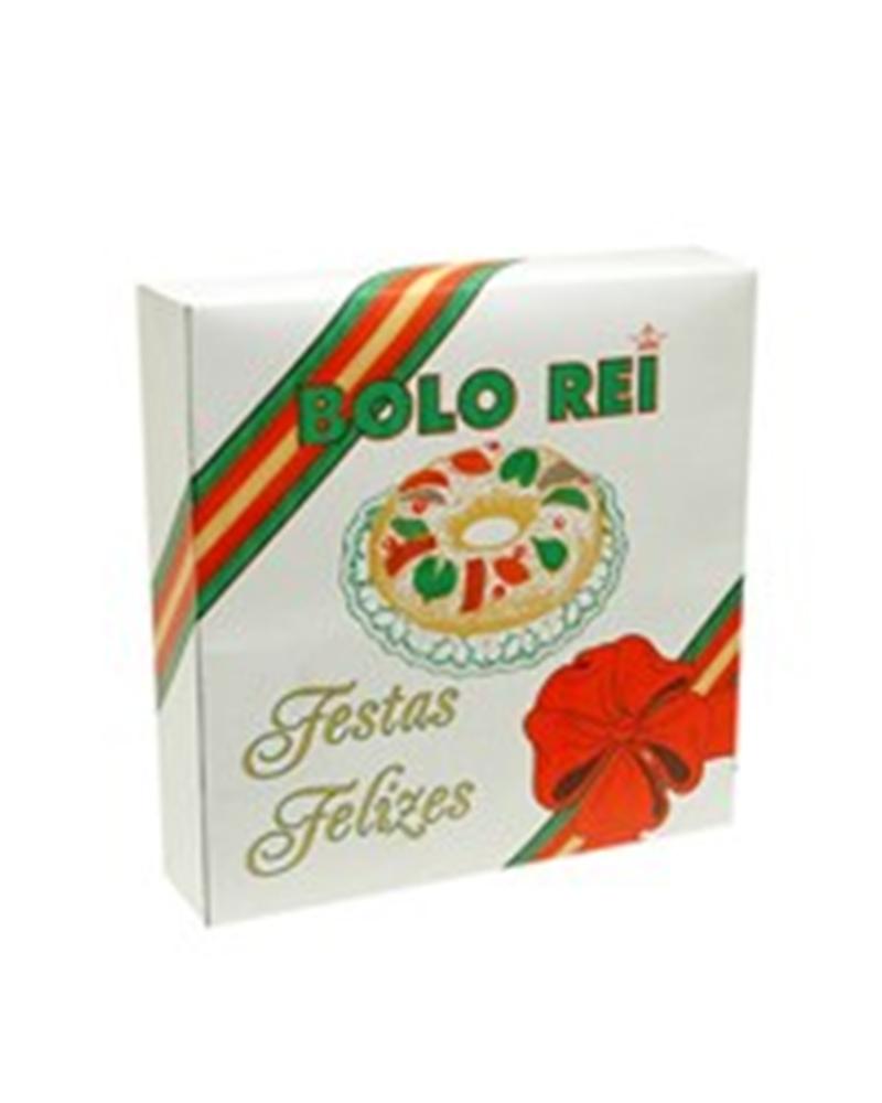 Cx Cartolina p/Bolo Rei c/Imp. Festas Felizes - Branco - 300x300x70mm - CX2620