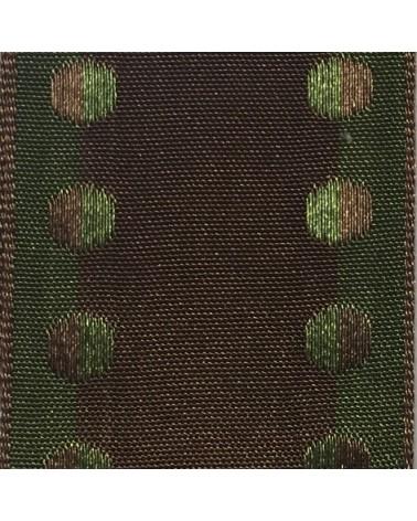 Fita Tecido Aramada Castanho c/ Bolas Verdes Esc. 38mm - Castanho - 38mmx10mts - FT4900