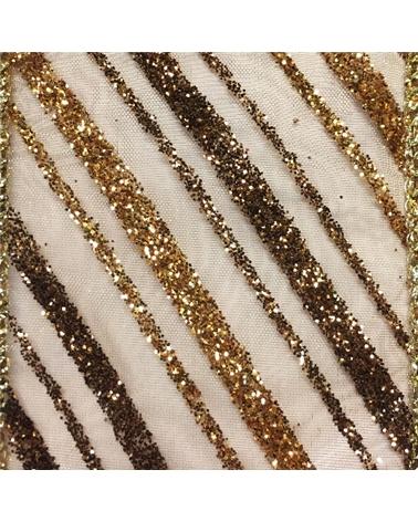 Fita Organza Aramada c/Diagonais Cobre/Dourado 38mmx10y - Cobre/Dourado - 38mmx10mts - FT4913