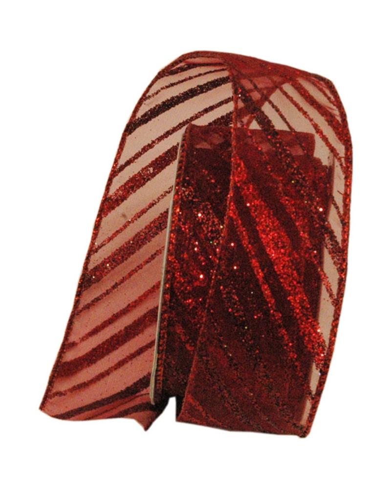 Fita Organza Aramada c/Diagonais Vermelho/Bordeaux 38mmx10y - Vermelho/Bordeaux - 38mmx10mts - FT4914