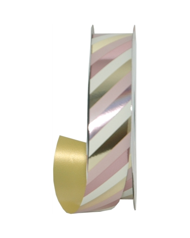 Rolo Fita Metalizada Riscas Diagonais Dourado/Rosa 31mmx100m - Dourado/Rosa - 31mmx100mts - FT5012
