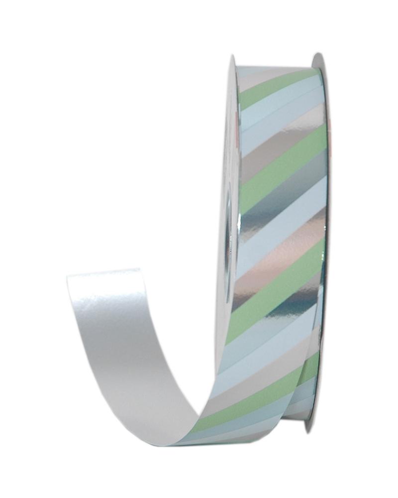 Rolo Fita Metalizada Riscas Diagonais Verde 31mmx100mts - Verde - 31mmx100mts - FT5014