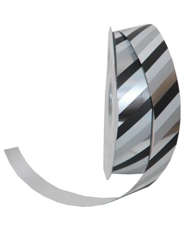 Rolo Fita Metalizada Riscas Diagonais Preto 31mmx100mts - Preto - 31mmx100mts - FT5016