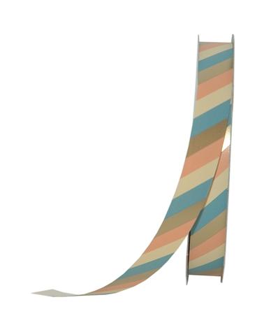 Rolo Fita Seda Riscas Diagonais Dourado/Azul 19mmx100mts - Dourado - 19mmx100mts - FT5021