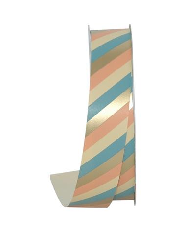 Rolo Fita Seda Riscas Diagonais Dourado/Azul 31mmx100mts - Dourado - 31mmx100mts - FT5022
