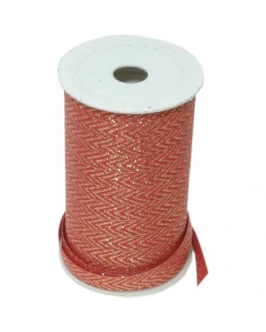 Fita Tecido Vermelho c/ Zig-Zag Dourado 10mmx25mt - Vermelho - 10mmx25mts - FT5045