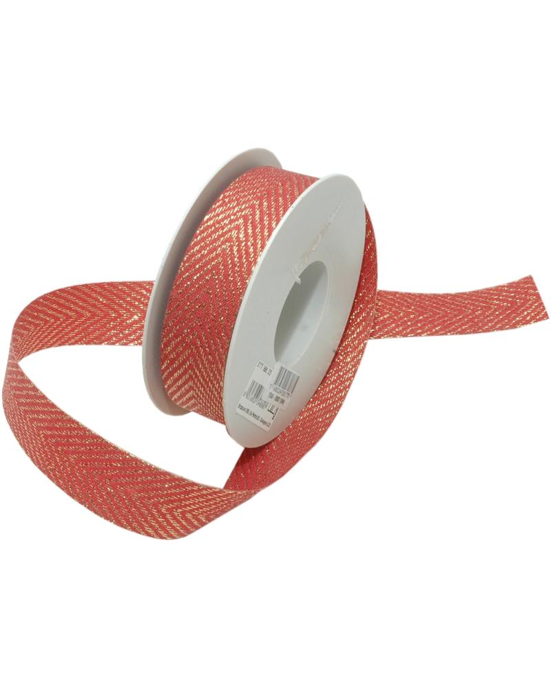 Fita Tecido Vermelho c/ Zig-Zag Dourado - Vermelho - 25mmx15mts - FT5048