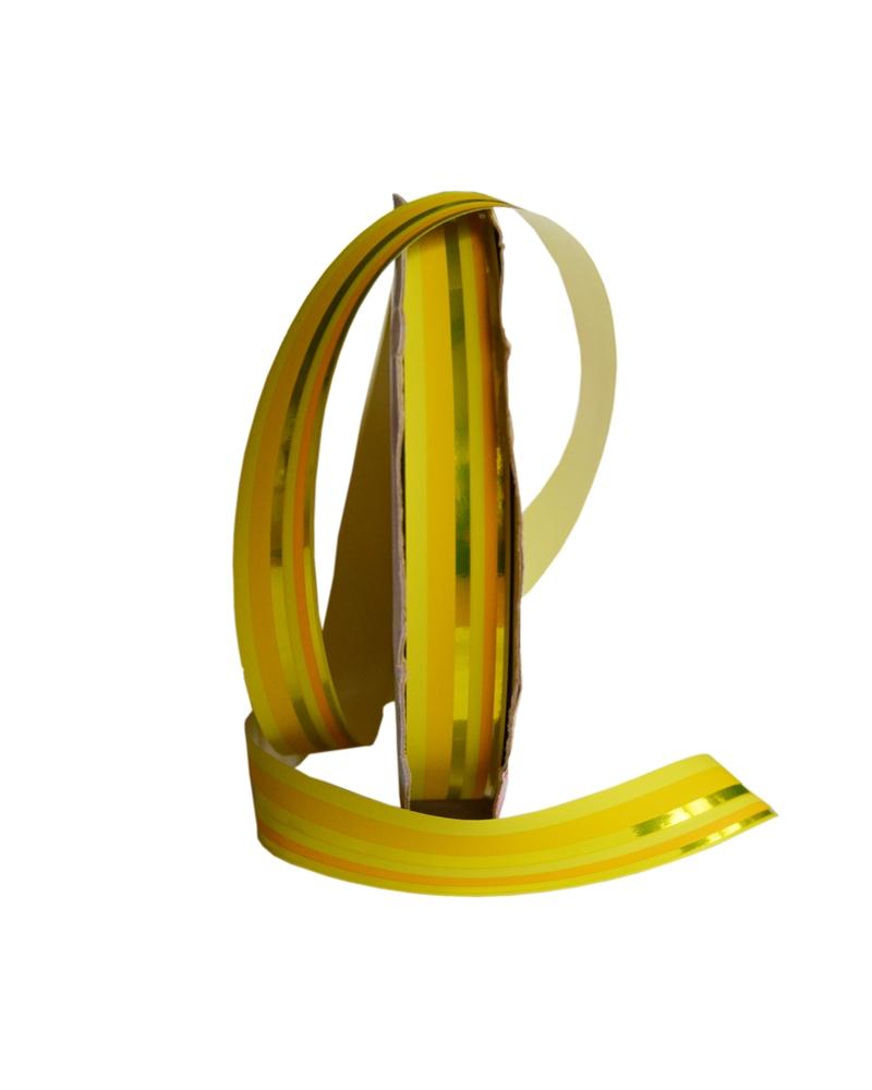 """Rolo de Fita Metalizada """"Righe"""" Amarelo com Riscas 19mm - Amarelo - 19mmx100mts - FT3893"""