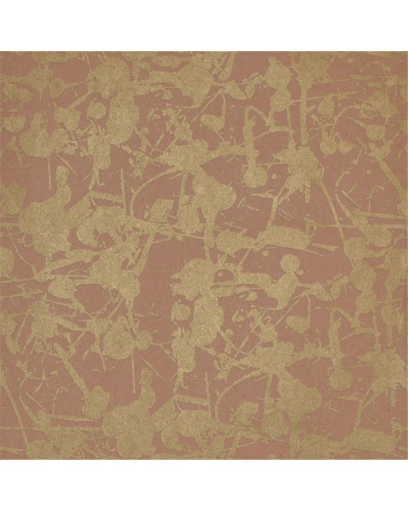Papel Kraft Castanho c/Salpicos Dourados 70x100cm - Dourado - 70x100cm - PP2709