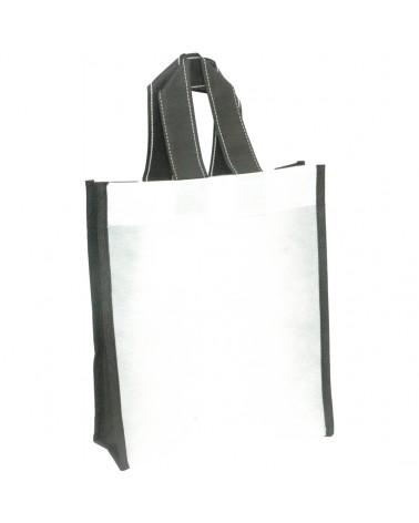 Saco em TNT c/Alças Bicolor Branco c/Fole Preto - Branco/Preto - 20+08x25 - SC3236