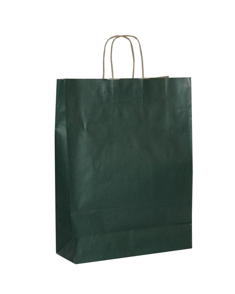 Saco Asa Retorcida Papel Kraft Verjurado Fundo Verde Escuro - Verde Escuro - 32+12x42 - SC3294
