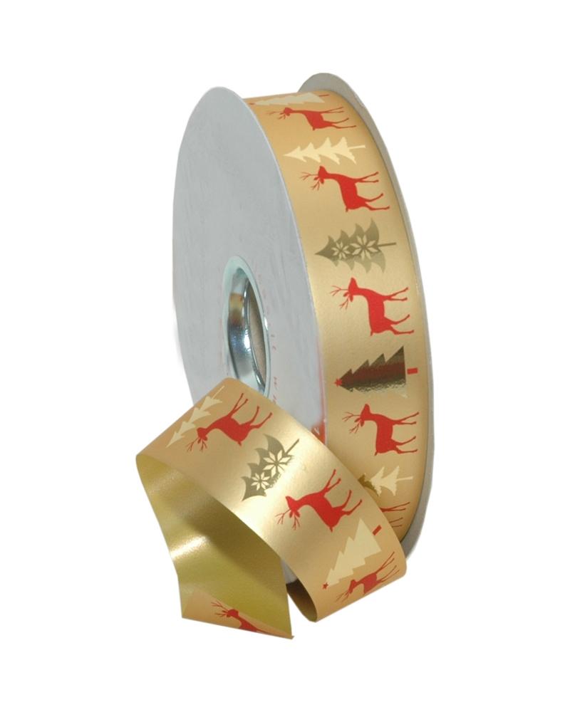 Rolo Fita Metalizada c/Renas Fundo Dourado 31mmx100mts - Dourado - 31mmx100mts - FT5117