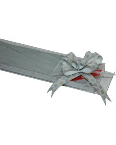 Laço de Puxar Branco Metal. c/ Arvores - Branco Metalizado - 19mm - LÇ0660