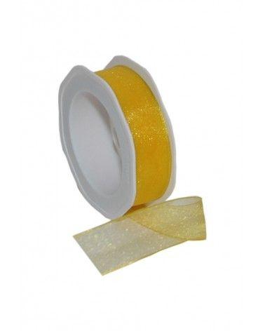 Rolo Fita Organza Aramada Amarela 25mmx20mts - Amarelo - 25mmx20mts - FT5169