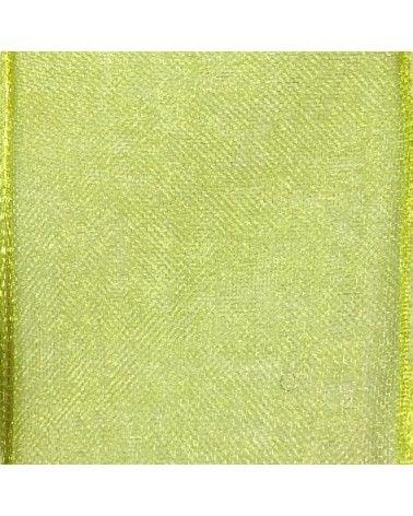 Rolo Fita Organza Aramada Verde Claro 25mmx20mts - Verde - 25mmx20mts - FT5171