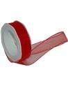 Rolo Fita Organza Aramada Vermelha 25mmx20mts - Vermelho - 25mmx20mts - FT5187