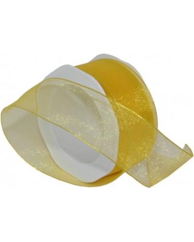 Rolo Fita Organza Aramada Amarela 40mmx20mts - Amarelo - 40mmx20mts - FT5170