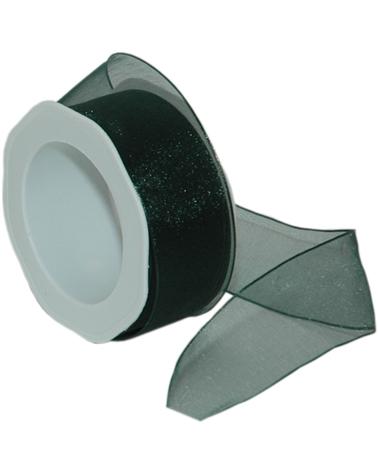 Rolo Fita Organza Aramada Verde Esc. 40mmx20mts - Verde - 40mmx20mts - FT5174