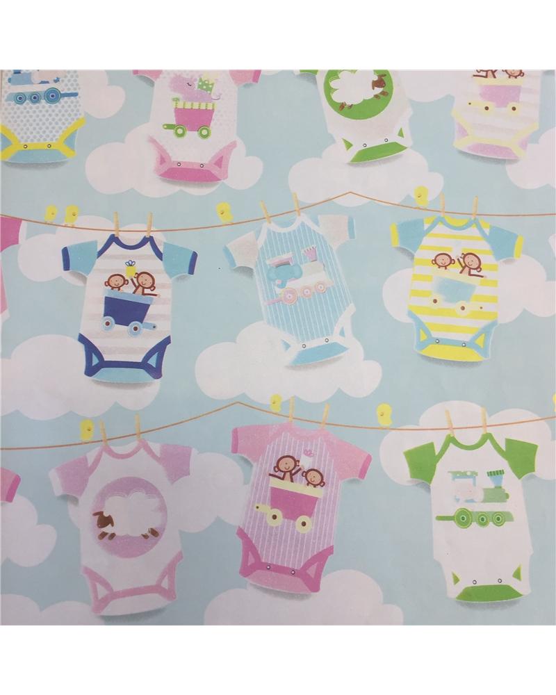 Papel Criança Tons Azuis c/Babygrow - Azul - 70x100cm - PP2782