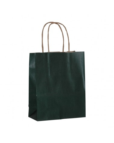Saco Asa Retorcida Papel Kraft Verjurado Fundo Verde Escuro - Verde Escuro - 18+08x21 - SC3351