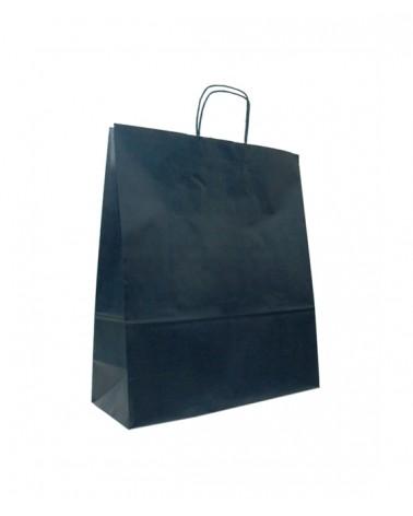 Saco Asa Retorcida Papel Kraft Verjurado Fundo Azul Escuro - Azul Escuro - 45+14x48 - SC3359