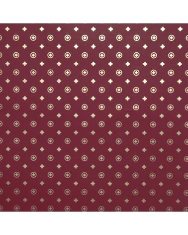 Papel Fundo Bordeaux c/Cruzes Douradas - Bordeaux - 70x100cm - PP2799