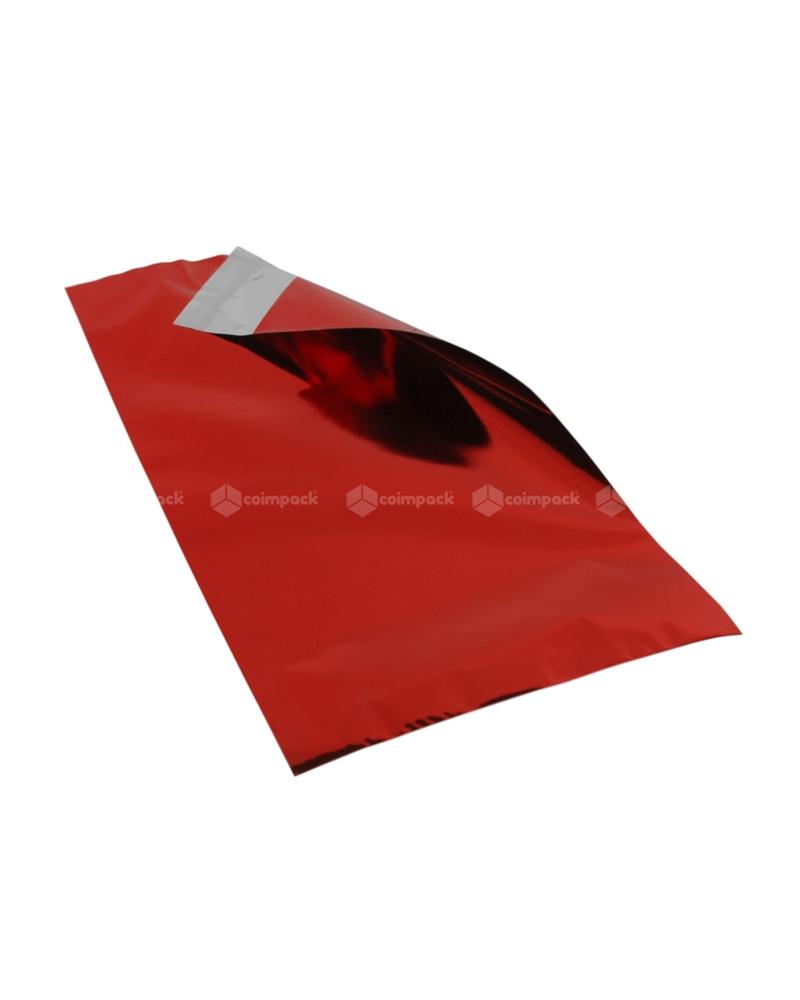 Saco c/Pala Autocolante Metalizado Fundo Vermelho - Dourado - 25x40+5 - SC3365